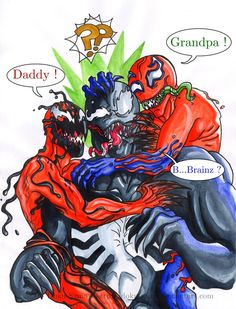 "Lol. Carnage is happy to see his daddy, Toxin is happy cause his grandpa is here and Venom just wants ""B...Brainz?"""