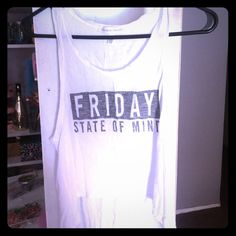 Victoria secret high low white tank top Victoria secret Friday state of mind white tank top high in front and bottom longer in back Victoria's Secret Tops Tank Tops