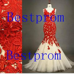 Custom Lace Prom Dress Red Lace Prom Gown Mermaid by Bestprom, $269.00