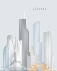 Chicago Printable Chicago Skyline Chicago Wall Art P502