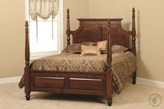 The Oxford Four Poster Bed is inspired by British Colonial antique beds. For a Traditional master bedroom, craft yours in Cherry with a dark stain.