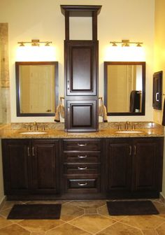 Pull out the single mirror and replace with two framed mirrors and build center cabinet like at Mom and Dad's house