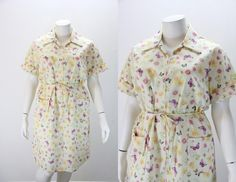 Plus Size Vintage Dress  1960s Zip and Dash by SIZEisJUSTaNUMBER