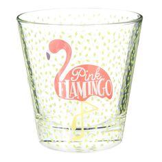 Glazen beker met flamingoprint FLAMINGO   - Verkocht per 6