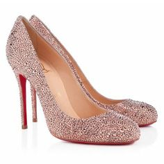 2012 Sexy Christian Louboutin Fifi Strass 100mm Red Bottom Pumps Nude
