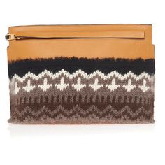 Loewe Knit T Pouch Bag (€1.445) ❤ liked on Polyvore featuring bags, handbags, brown, zig zag bag, pouch purse, loewe handbags, loewe and knit handbags