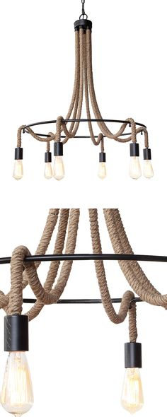 Rustic lighting makes a grand impression. Our Hampton Chandelier is crafted with iron and jute. Its six-bulb design provides ample light. Beach Chandelier, Chandelier Lighting, Rustic Lighting, Cool Lighting, Rope Lamp, Wood Lamps, Recycled Furniture, Dot And Bo, Lamp Design