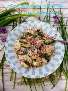 Salade p de t, saumon et asperges vertes  Ingrédients : 600 g de pommes de terre primeurs 500 g d'asperges vertes 3 petits oignons frais 300 g de filets de saumon  une vingtaine de fleurs de ciboulette  pour la sauce : 1 citron 120 g de fromage de chèvre frais 1 yaourt grec 3 c. à soupe d'huile d'olive sauce worcestershire  sel, poivre