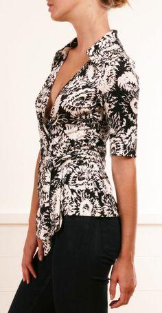 Wrap blouse in b & w...