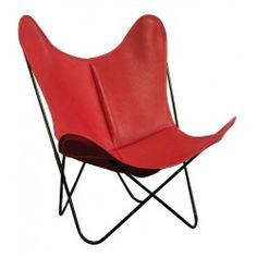 Fauteuil indoor AA Butterfly Cuir Buffalo Rouge / Structure noire - AIRBORNE
