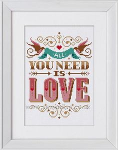 Buy All You Need Is Love Cross Stitch Kit Online at www.sewandso.co.uk