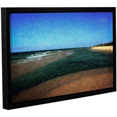 ArtWall Kevin Calkins Sandbar with Blue Sky Gallery-Wrapped Floater-Framed Canvas, Size: 24 x 36, Green
