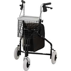 Nova Traveler 3 Wheeled Rollator Walker Black Basket 3rd Wheel