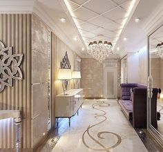 Very high end luxurious hallway with a motif on the floor, purple velvet settee, a white gloss console and a stunning chandelier. Everything is luxury, so it exudes opulence. Luxury Beauty - - Luxury Living For You Luxury Decor, Luxury Interior Design, Interior And Exterior, Interior Decorating, Floor Design, Ceiling Design, Apartment Entrance, Plafond Design, Classic Interior