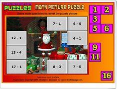 Puzzle de Navidad con la resta (theKidzpage.com)