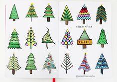 "Gefällt 550 Mal, 18 Kommentare - Miya (@mimitsu.de) auf Instagram: ""18 ways to draw a Christmas tree . . . . #bulletjournal #mimitsudoodles #bujo #showmeyourplanner…"""