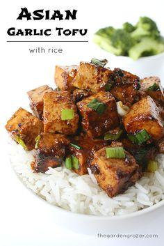 Asian garlic tofu with rice (vegan and gluten-free)