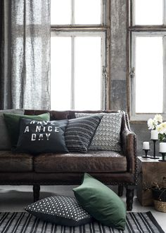 Aged Leather Sofa with Green Cushions on The Life Creative Small Living Rooms, Living Room Sofa, Living Room Interior, Living Room Decor, Green Cushions, Cushions On Sofa, Do It Yourself Sofa, Sofa Deals, Best Leather Sofa