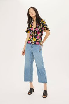 Bright Floral Wrap Blouse - Tops - Clothing - Topshop