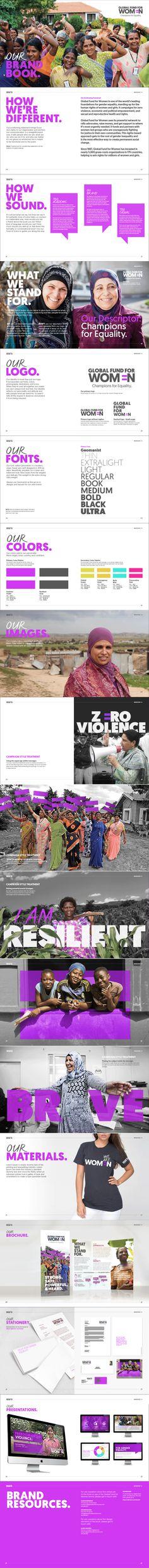 Global Fund for Women - Brand Book Global Fund, Brand Book, Women Brands, Web Design, Design Web, Website Designs, Site Design