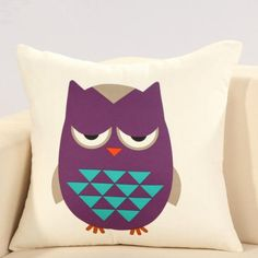 Funny red owl pillow for couch animal sofa cushions