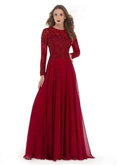 Buy discount Stunning Tulle & Chiffon Jewel Neckline Long Sleeves A-line Mother Of The Bride Dresses With Beaded Lace Appliques at Dressilyme.com