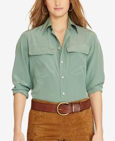 ced3a66b5cc2af Polo Ralph Lauren Silk Two-Pocket Shirt   Reviews - Tops - Women - Macy s