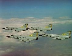 F-106A Delta Darts from the 171st FIS, Michigan ANG flying a diamond formation.