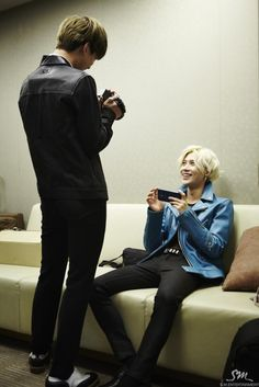 Playing with the camera Kai and Taemin:) EXO and SHINee:)