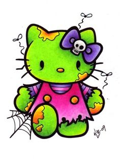 Zombie Hello Kitty-would make a cool tat!
