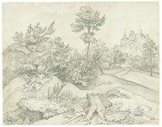 Ludwig Ferdinand Schnorr von Carolsfeld  Königsberg 1788 – 1853 Wien  Landschaft mit Burg. 1816 Feder in Schwarz, laviert, über Bleistift auf Papier. 17,6 × 22,4 cm (6 ⅞ × 8 ⅞ in.)