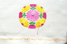 Buy Japanese motive, floral ornament in a circle. Design for embroidery. - pink, yellow