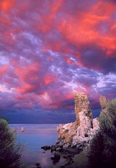 Sunset clouds and tufa towers, Mono Lake.