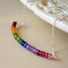 Rainbow Necklace Gold or Sterling Silver Jewelry by livjewellery