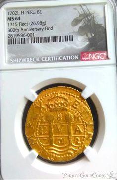 Rare Gold Coins, Pirate Coins, Pirates Gold, Pirate Treasure, Shipwreck, Silver Dollar
