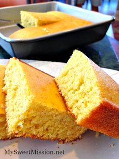 This Buttermilk Cornbread Recipe is the BEST because it checks every box that a great cornbread should be. It's soft and moist, slightly sweet and absolutely delicious! Get the recipe: http://mysweetmission.net/2015/08/buttermilk-cornbread-recipe.html