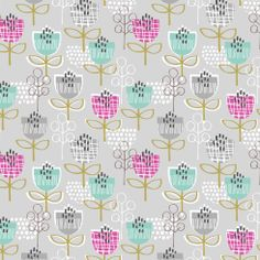 """Tulips on Grey"" Floral Fabric by Dashwood Studio"