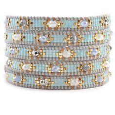 Chan Luu - Periwinkle Mix Wrap Bracelet on Beige Leather, $180.00 (http://www.chanluu.com/wrap-bracelets/periwinkle-mix-wrap-bracelet-on-beige-leather/)
