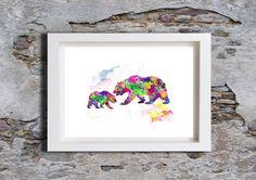 Rainbow Bear Nursey Wall Art, Childrens poster, Watercolour, Art Print by melOnDesign on Etsy