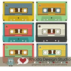 Retro cassette tapes that are pre colored. A cute piece of art that would be great on a card, tag, name bulletin, music bulletin, newsletter, name tags, and more!6 individual, high resolution (300 dpi) PNG files. (I didn't create JPG files because of the need to have space behind some of the parts.