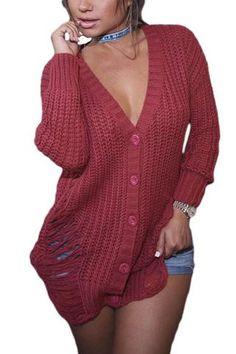 Maroon Button Closure Long Sweater LAVELIQ