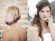 Add a big fluffy peony to your hair for a romantic bridal look