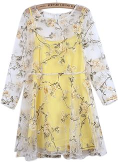 Yellow Long Sleeve Floral Organza Two Pieces Dress - Sheinside.com