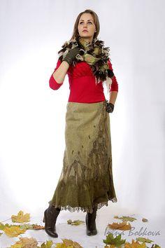 Купить Юбка валяная Камыши - хаки, юбка зеленая, юбка оливковая, юбка валяная зеленая