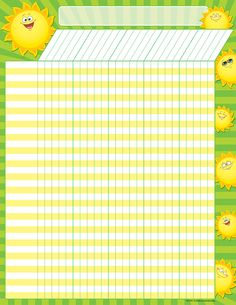 - Happy Suns Incentive Chart, Convenient, useful learning tools that decorate as they educate! Each chart measures by Related lessons and ac. Attendance Sheets, Attendance Register, Children Ministry, Happy Sun, Learning Tools, Planner Pages, Sunday School, School Ideas, Charts