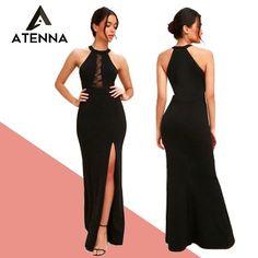 "829893ee2f Atenna Moda Feminina on Instagram  ""Vestido Longo Fenda Lateral Renda  Social Festa REF  VRP5 💸Valor  125.99 📪Frete a consultar     ▫DESCRIÇÃO   Vestido ..."