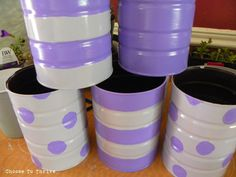 Upcycling cans into colourful planters.