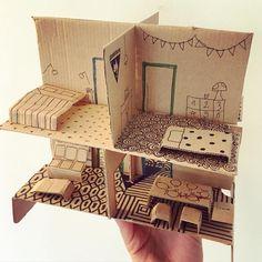 Cardboard dollhouse! by @unjourunjeu