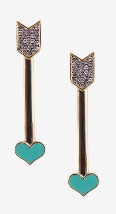 Jami Rodriguez | Teal Arrow Pave Heart Earrings