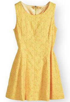 Yellow Sleeveless Back Zipper Embroidery Dress -